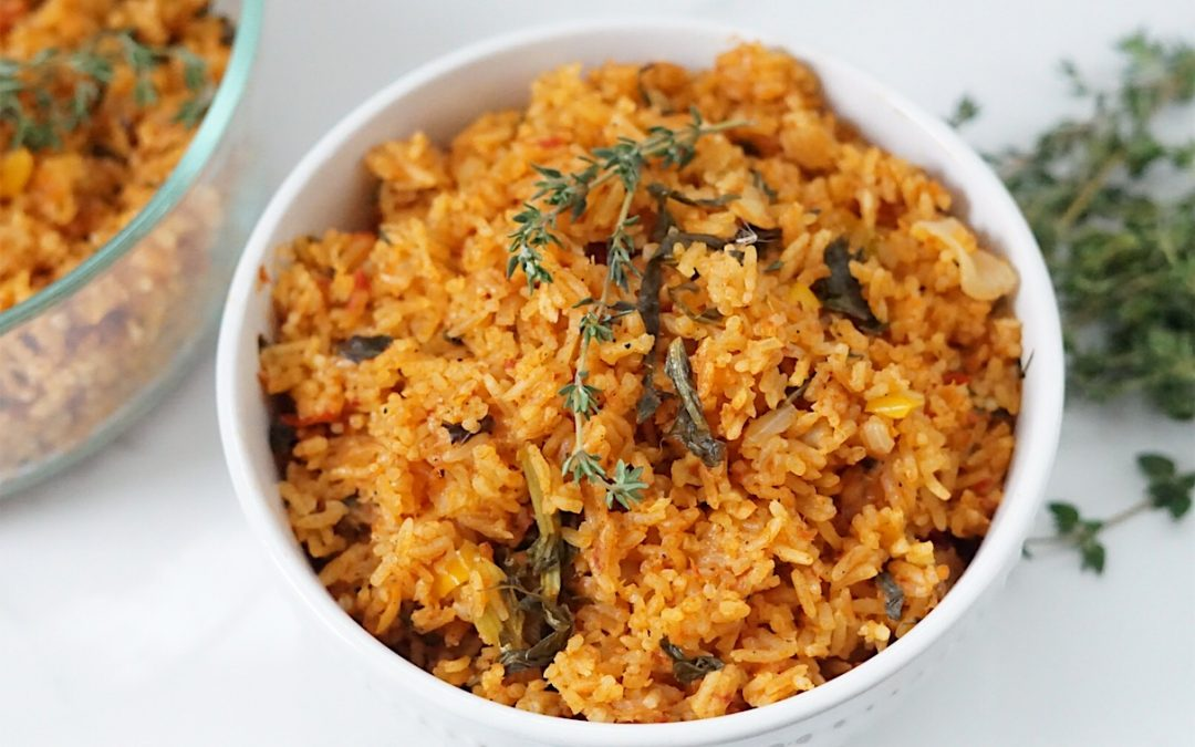 Spicy Salmon Jollof Rice with Mixed Greens